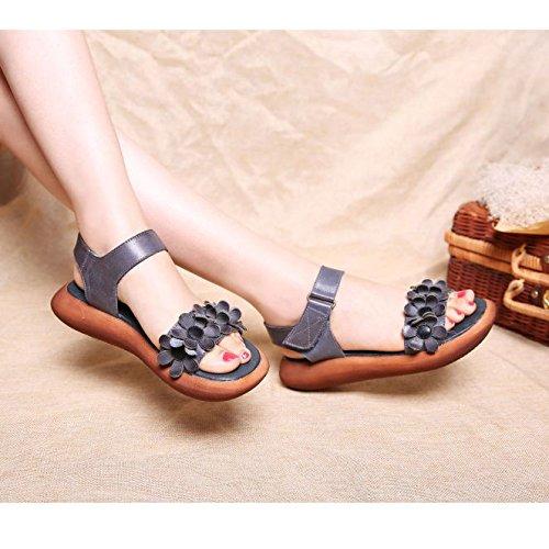BTJC Esplosioni in pelle retro manuale sandalo piattaforma in legno fiore pelle Velcro scarpe tempo libero , gray , 40