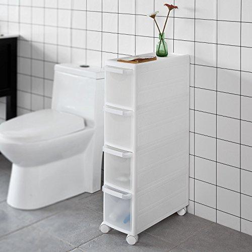 SoBuy® Rollwagen mit vier Schüben, Nischenwagen, Schubladencontainer, Küchenregal, weiß, FRG41-W