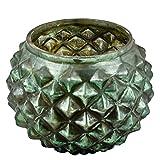 Teelichtglas Diamond-Design Glas Windlicht Deko (Grün, 10x13x13cm)