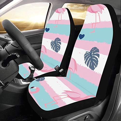 Rtosd Flamingo Vögel Sommer Rosa Benutzerdefinierte Universal Fit Auto Drive Autositzbezüge Protector Für Frauen Automobil Jeep LKW SUV Fahrzeug Full Set Zubehör Für Erwachsene Baby (Set Von 2 Front) -