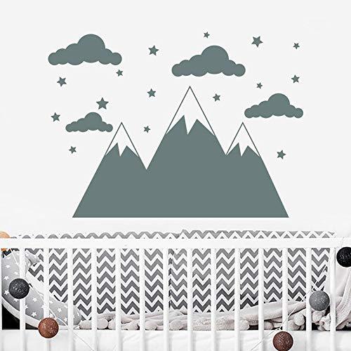 ht Cloud Star Nursery Wall Decal Vinyl Home Decoration Nursery Kids Baby Room Wall Sticker Cartooll ()