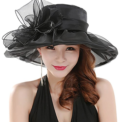 Everyday Damen Fashion Sommer Kirche Kentucky Derby Gap British Tee Party Hochzeit Hat, schwarz, Einheitsgröße (Hat Derby-kirche)