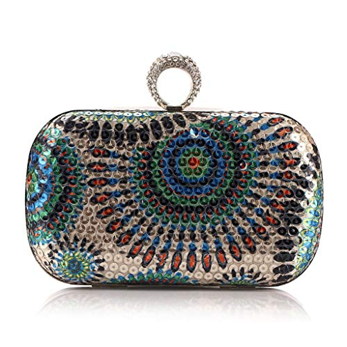 MaoDaAiMaoYi Handtaschen Damen Frau Kupplung Geldbörse Schimmernde Pailletten Bead Handtasche Abendgesellschaft Braut Mode Living Hochzeit Tasche (Color : Blau, Size : One Size) -