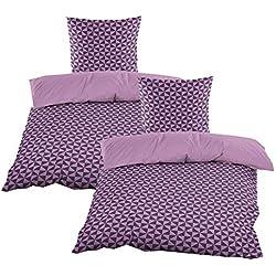 Casa Colori Biber Bettwäsche mit Reißverschluss Garnitur 4 TLG. 135x200 cm in Violett mit Druckmuster