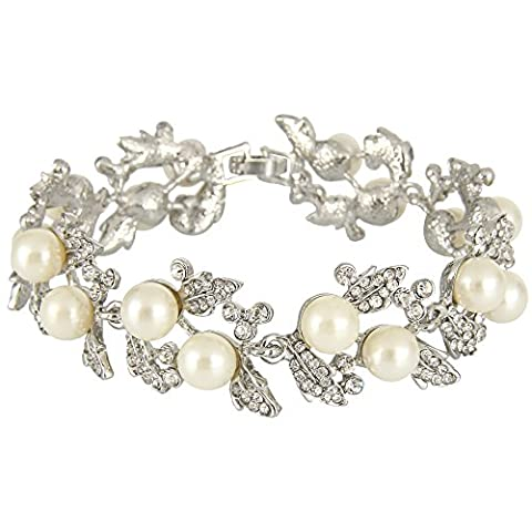 EVER FAITH® österreichisches Kristall künstliche Perle elegant Blätter Armband Klar