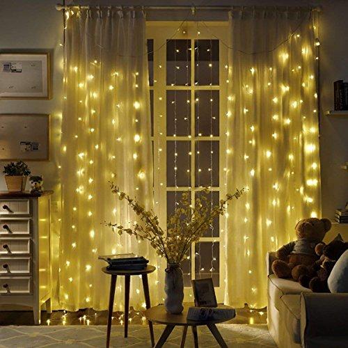 B-right Cortina de Luces, 300 LEDS,Cortina de Luces de Hada Interior, Cortina de Luz de LED para Decoración de Ventana, Patio, Balcón, Salón de Fiestas,Jardín,Bar, Día de San Valentín, Boda,etc