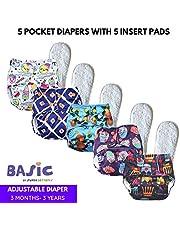 superbottoms Pack of 5 Soft Fleece Lined Pocket Diaper with