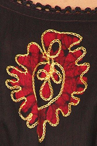 Sakkas Tunique Chemisier Brodée Batik en Coton Transparent Noir rouge