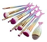 NEEDOON Makeup Pinselet 11 Stück Kosmetik Meerjungfrau Contouring Blush Eyeliner Eyeshadow Lip mit Foundation Pinsel,B