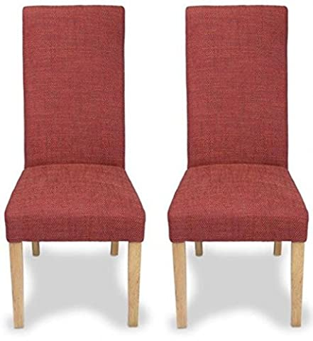 PAIR OF BAXTER RUSTIC RED UPHOLSTERED TWEED DINING CHAIRS