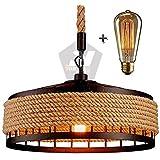 Sensational Nation Hanging Lamp Vintage Hemp Rope Pendant Lamp Ceiling Lamp, Retro Industrial Iron Vintage Loft Ceiling Light