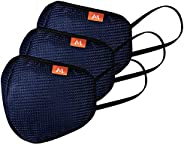 M MEDLER Super-Germshield M95 6-layer Reusable/washable anti pollution face mask - NAVY-BLUE (PACK OF 3)