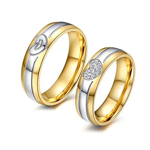 Beydodo anelli coppia lui lei anello acciaio grande anello del cuore anelli zirconi donna misura 17 & uomo misura 22