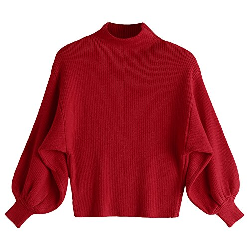 ZAFUL Damen Mock Neck Lantern Sleeve Strickpulli Pullover Winter/Herbst Beiläufig hoher Hals Langarm Knitwear Bluse Jumper Outerwear?RED? (Knit Mock Sweater Neck)
