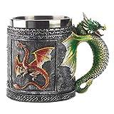 Taza de Acero Inoxidable 450 ml Taza de Resina Taza de café Creativa dragón Taza de té día Fyxd