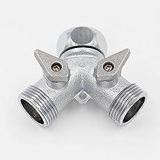 SpiceFlow Verteileranschlussstück 2-Fach | Chrom/Messing | Für 3/4 Zoll Außengewinde | 3/4 Zoll Innengewinde | 1/2 Zoll Gardena Kompatibel