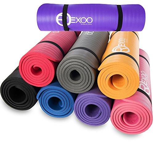 REXOO Pilates Yogamatte Fitnessmatte Gymnastikmatte Sportmatte Matte in Verschiedenen Farben, Farben:Rot