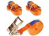 INDUSTRIE PLANET 2 Stück 2000kg 6m Spanngurte mit Ratsche 1 teilig einteilig Zurrgurte Ratschengurt orange 35mm 2000 daN 2t