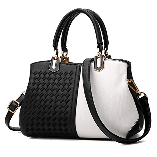 Damenmode Satchel Lady Pu Leder Schultertasche Handtasche Top Griff Tasche Multicolor,White-M (Klassischen Elementen Womens)
