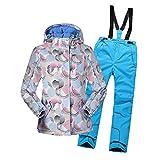 LSHEL Skianzug Jungen Mädchen Skianzüg Kinder Schneeanzug Wasserdicht Winddicht Skijacke und Skihose 164