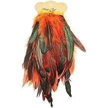 RUBY- Fleco Pluma Gallo para coser manualidases (Naranja)