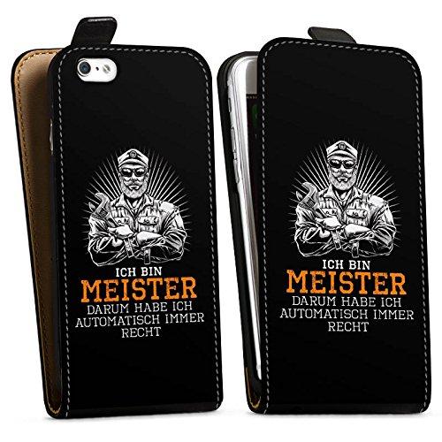 Apple iPhone 6s Tasche Hülle Flip Case Meister Spruch Handwerk Downflip Tasche schwarz