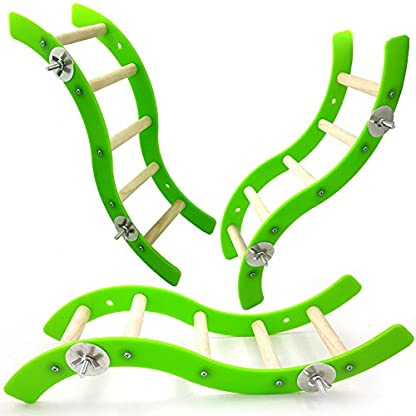 Pet Bird Parrot Hamster Acrylic Wave Ladder Stand Crawling Ladders Cage Play Fun Toy 2