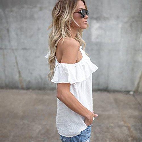Vovotrade® Mode Femmes Lâche Une épaule Blouse T-shirt Décontracté d'été Design de Fleurs Blanc