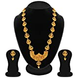 #6: Apara Gold Plated Long Traditional Temple Necklace Jewellery Set for Women