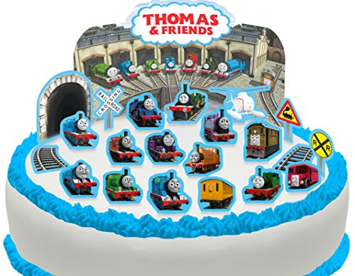 Vorgeschnittene und Essbare Thomas und seine Freunde Szene Kuchen Topper (Tortenaufleger, Bedruckte Oblaten, Oblatenaufleger) (Thomas Seine Freunde-kuchen Und)