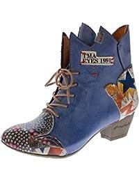 TMA Damen Stiefeletten echt Leder Stiefel Muster variieren Comfort Schuhe 7707 Boots 36-42
