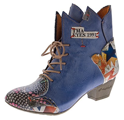 TMA Damen Stiefeletten echt Leder Stiefel Muster variieren Comfort Schuhe 7707 Boots Blau Gr. 42