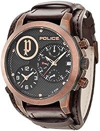 Police 14188JSQBZ/02 - Reloj de cuarzo para hombre, correa de cuero