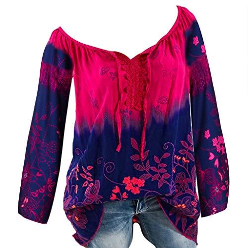 Oversized Damen HäKeltop Gestreiftes T Shirt Freizeit Langarm Langarmshirt Sexy TräGerloses Top Schulterfreies Top Longshirt Pullunder Hawaiihemd V-Ausschnitt Spitze Oberteile
