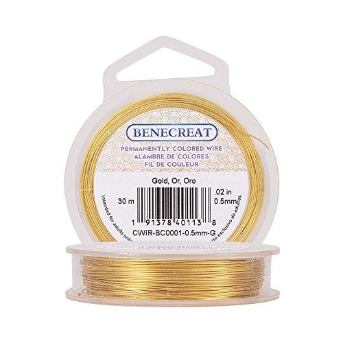 BENECREAT 30m 0.5mm Filo di Rame Metallico Accessori Artigianali per Gioielli Design di Gioielli - Oro