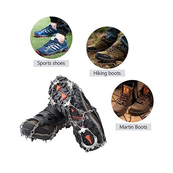 AUHIKE Crampones 18 de Dientes y Garras l Cubierta Antideslizante de Zapatos para Nieve y Hielo, con Cadena de Acero Inoxidable 5