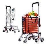Cesta Carro de la Compra Escalera Escalada Mercado de los Agricultores Carro Escalera Escalada Multipropósito Supermercado plegable 8 Rueda , Orange