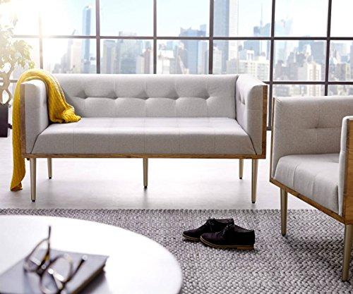 DELIFE Couch Metropolitan Grau 140x73 Akazie Natur filigran abgesteppt Sofa