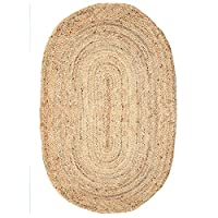 RAJRANG BRINGING RAJASTHAN TO YOU Jute Runner Rug (121x68 cm) - Oval Shape Jute Rug for Decorative Home Kitchen with 100% Bio Friendly Machine Wash Runner Mat