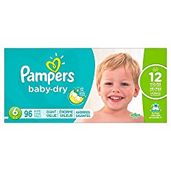 Pampers Baby Dry Diapers Giant Pack, Size 6, 96 Count