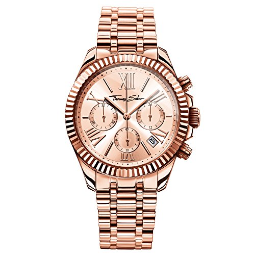 Thomas Sabo Damen-Armbanduhr Chronograph Quarz Edelstahl WA0222-265-208-38 mm