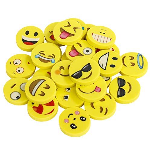 ummi 144 Stücke Smiley Radierer Spielzeug Gastgeschenk Geschenke für Geburtstag Party Festival neues Jahr Weihnachten, gelb ()