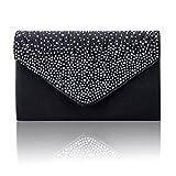 Women Clutch Bag Diamante Envelope Handbag Evening Shoulder Bags for Party (Black)