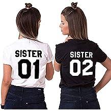 Camiseta Best Friend T-Shirt 2 Piezas Impresión Sister 01 02 Camisa Hermana Manga Corta