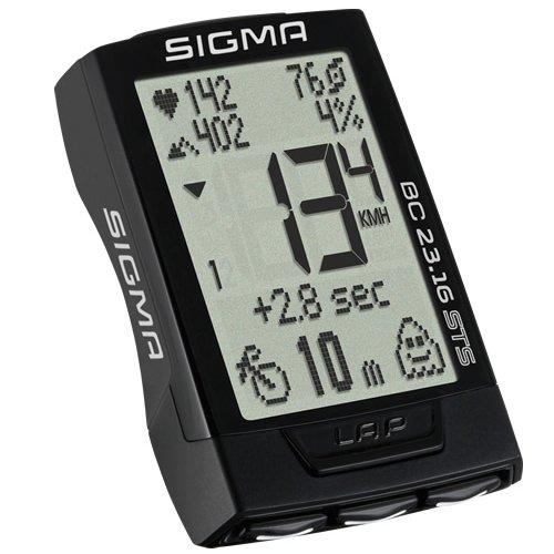 Sigma Sport Fahrrad Computer BC 23.16 STS, 23 Funktionen, Ghost-Race, Kabelloser Fahrradtacho, Trittfrequenz- und Pulsmessung, Schwarz (Fahrrad Computer Mit Trittfrequenz)