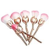 Vovotrade® Vovotrade 6 Stück Rose Form Pro weichen Kontur Gesicht Puder Foundation Blush Pinsel Make-up Kosmetik-Tool (Gold)