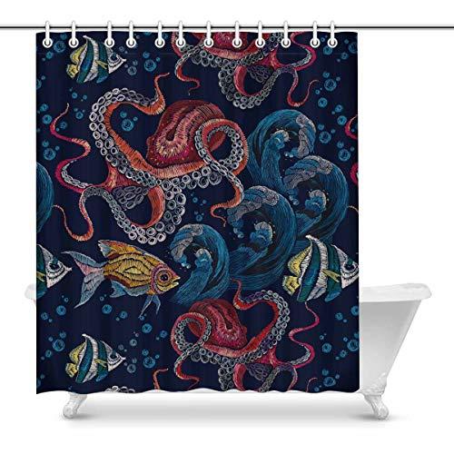 Luancrop Klassische Stickerei Red Octopus Unterwasserwelle mit Fischen Wasserdicht Duschvorhang Dekor Stoff Badezimmer Set mit Haken -