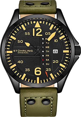 Stuhrling Original Men's Black Dial Japanese Quartz Pilot Military Designer Watch Acier inoxydable Boîtier 9 mm avec sangle en cuir véritable de haute qualité estampé en caoutchouc ...