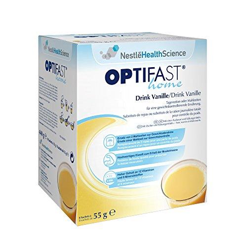 OPTIFAST home Diät Drink Vanille zum Abnehmen   eiweißreicher Mahlzeitenersatz mit wichtigen Vitaminen und Mineralstoffen   schnell und lecker   von Nestlé Health Science   8 x 55g -