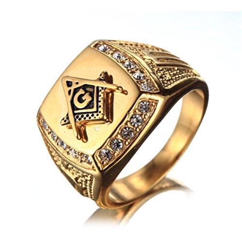 OAKKY Herren Edelstahl Masonic Freimaurer Ring mit Diamanten Biker Symbol Mitglied Band, Gold Größe 60 (19.1) - Freimaurer Ringe Diamant